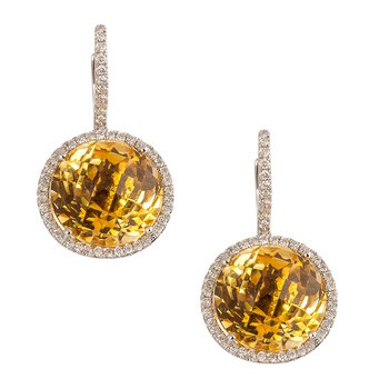 Citrine Diamond Halo Earrings