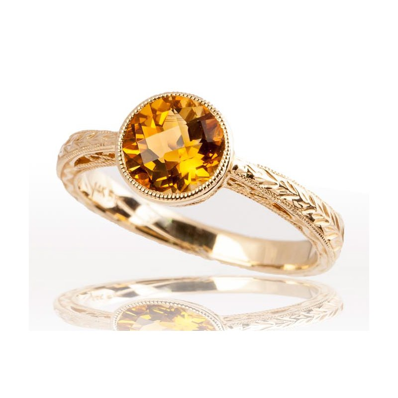 Engraved Citrine Ring