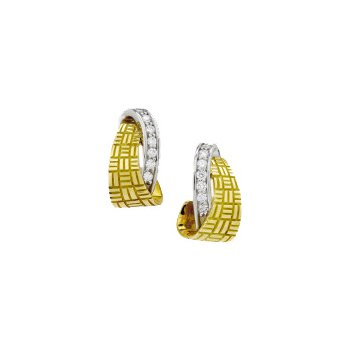 Gold Parquet Half Hoop with Diamond Earring