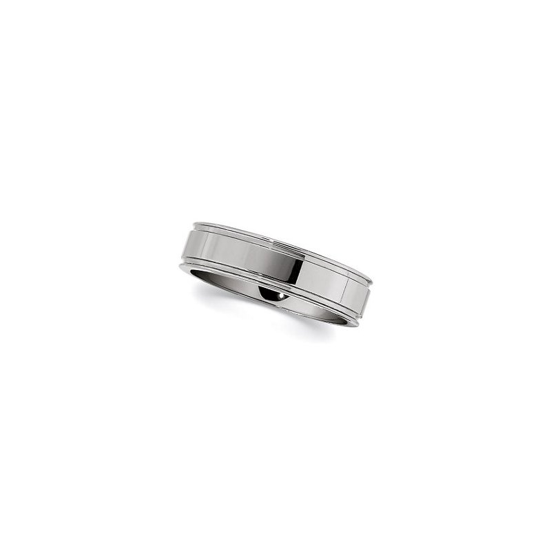 High Polished Grooved Tungsten Band