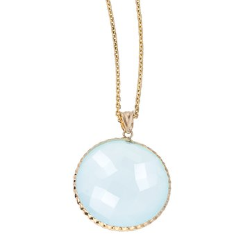 Faceted Chalcedony Pendant in Gold
