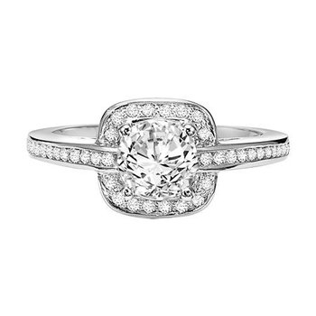 Halo Engagement Ring with Channel Setting