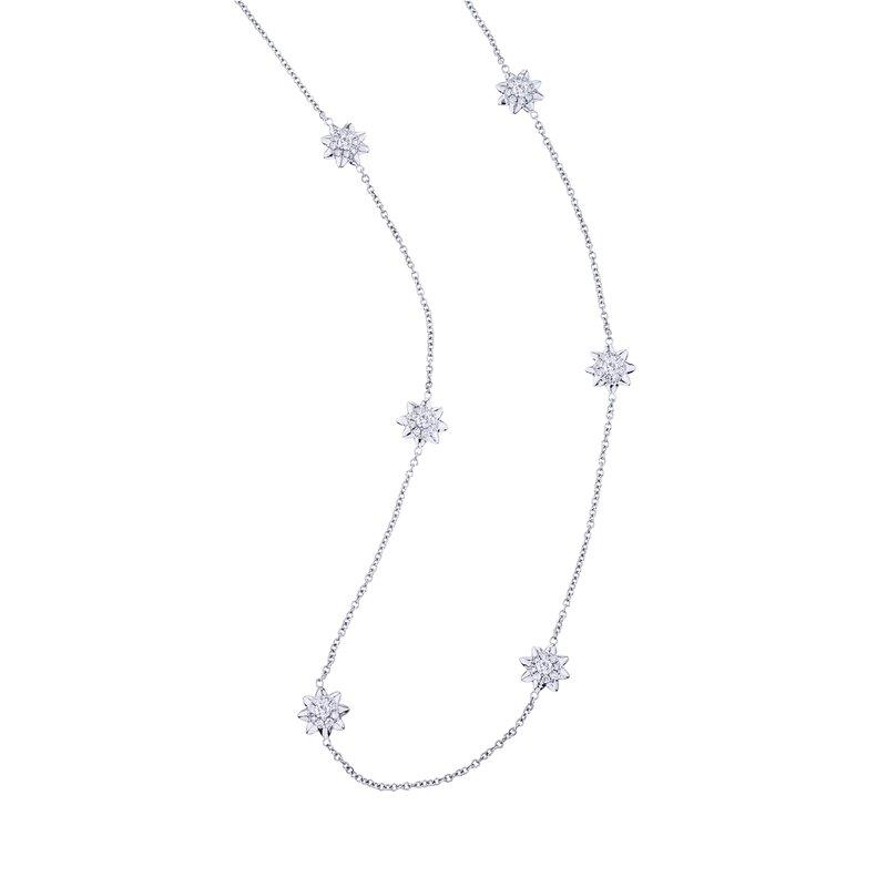 Diamond Flower Station Necklace
