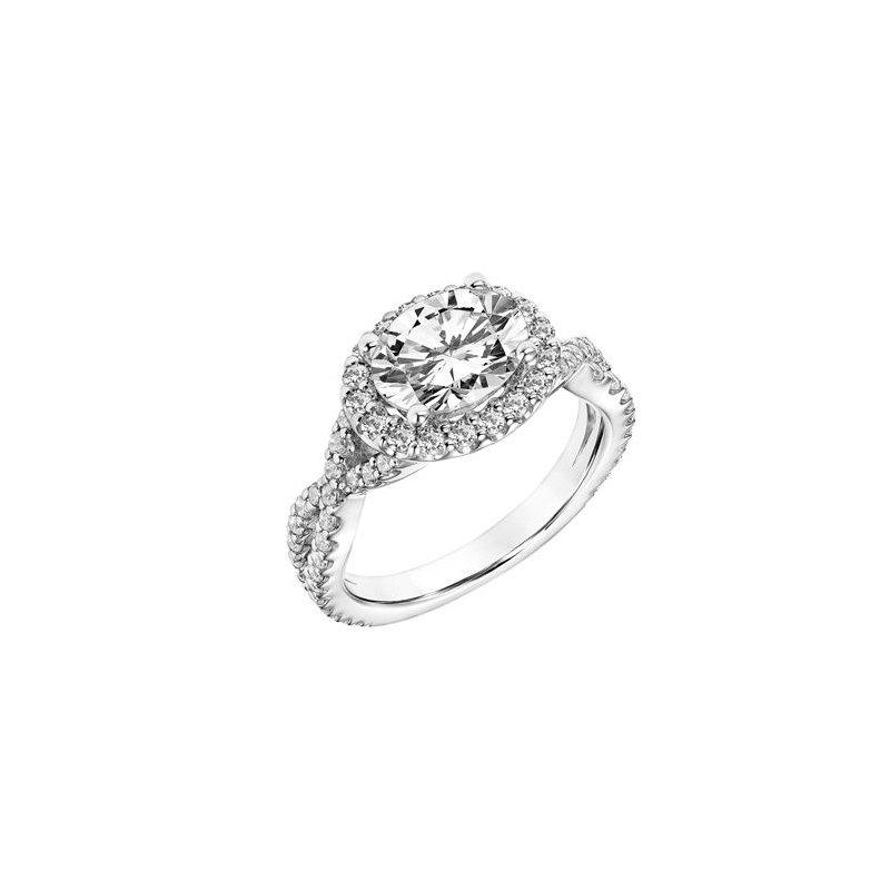 Elegant Diamond Halo Engagement Ring with Twisted Diamond Shank