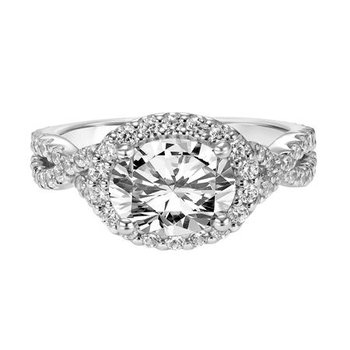 Elegant Diamond Halo Engagement Ring with Twisted Diamond Shank