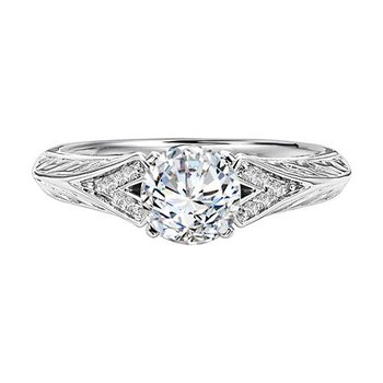Diamond Engraved Engagement Ring