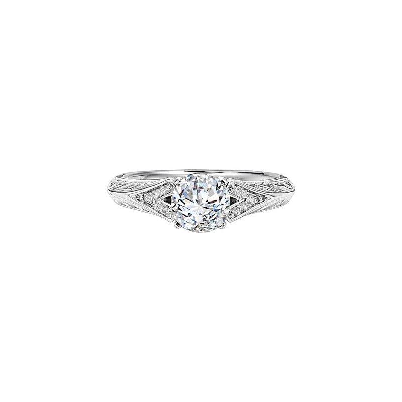 Diamond Engraved Engagement Ring