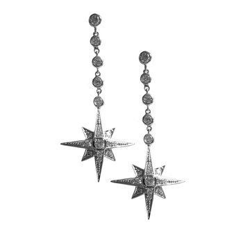 Dangle Pave Diamond Star Earrings