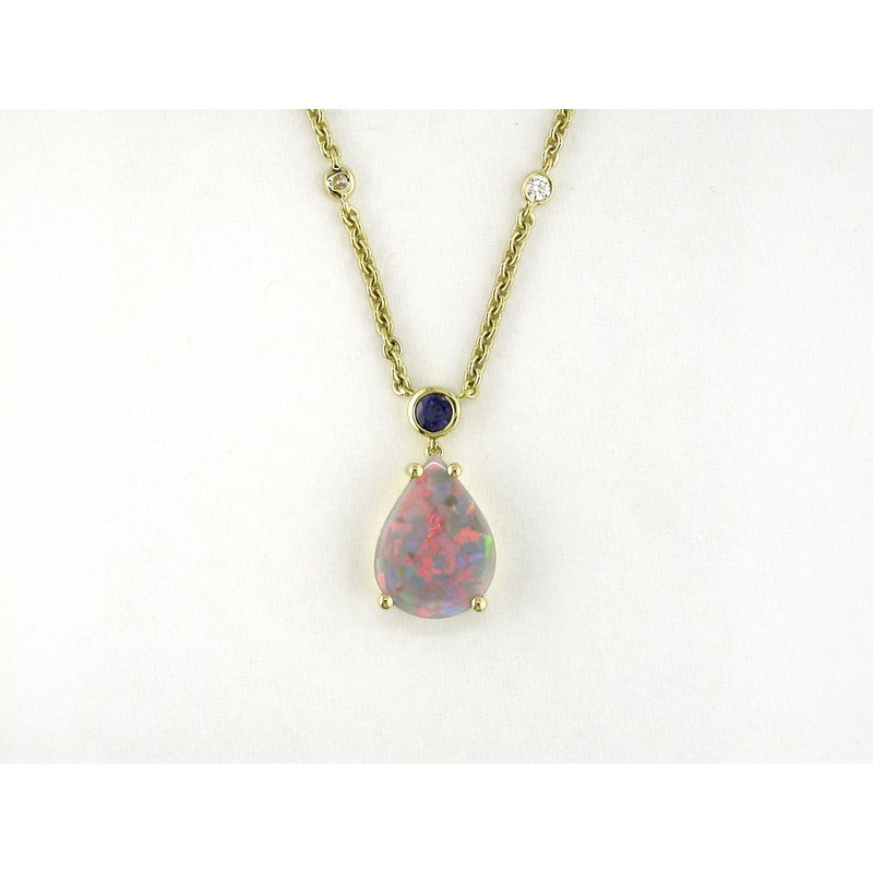Black Opal, Sapphire and Diamond Necklace