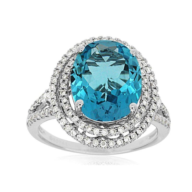 Royal Jewelry Blue Topaz and Diamond Ring