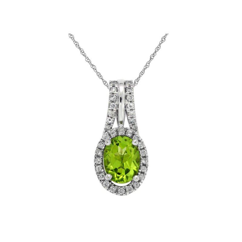 Royal Jewelry Peridot and Diamond Pendant