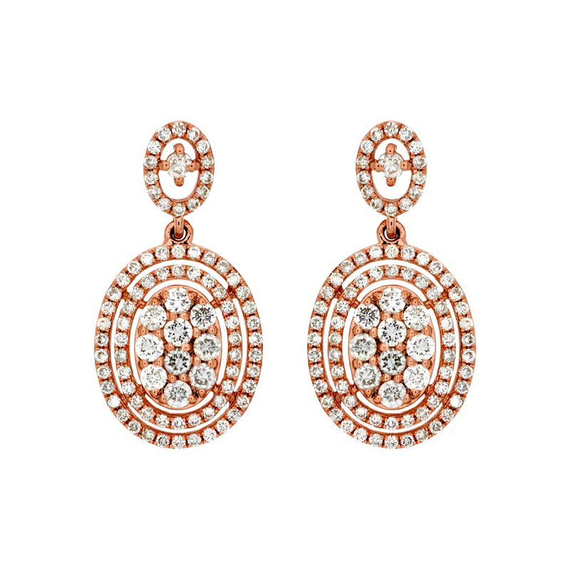 Royal Jewelry Rose Diamond Earrings