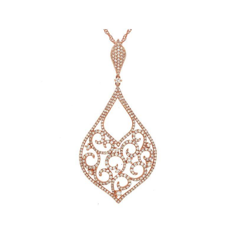 Royal Jewelry Rose Gold Diamond Necklace