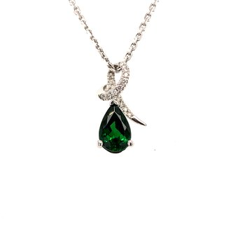 One-of-a-kind custom designed tsavorite garnet pendant