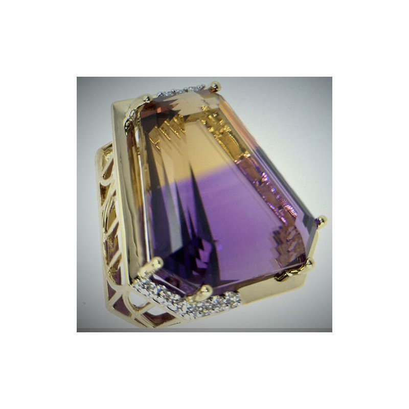Barany Custom Designs Yellow 14 Karat Trapezoid Ametrine and Diamond Pendant
