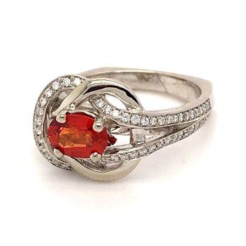 Orange sapphire and diamonds fashion ring