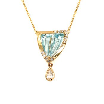 One-of-a-kind aquamarine and diamond pendant