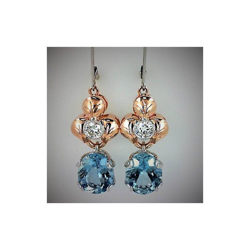 14K Two Tone Aquamarine Earrings
