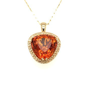One-of-a-kind custom designed Palmira Citrine and diamonds pendant