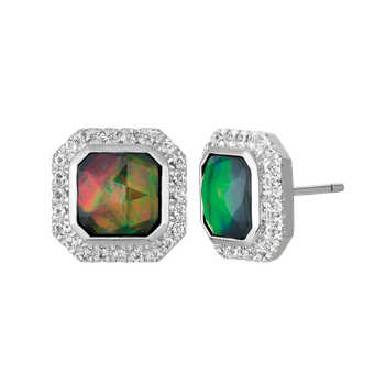 Ammolite and white topaz earrings by Korite