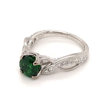 Tsavorite Garnet and diamonds fashion ring