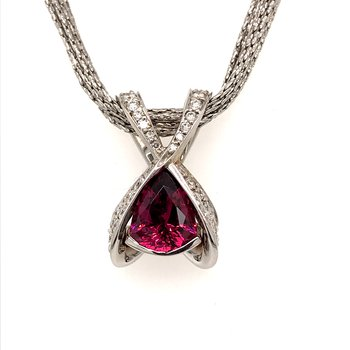 One-of-a-kind Rhodolite Garnet and diamonds pendant