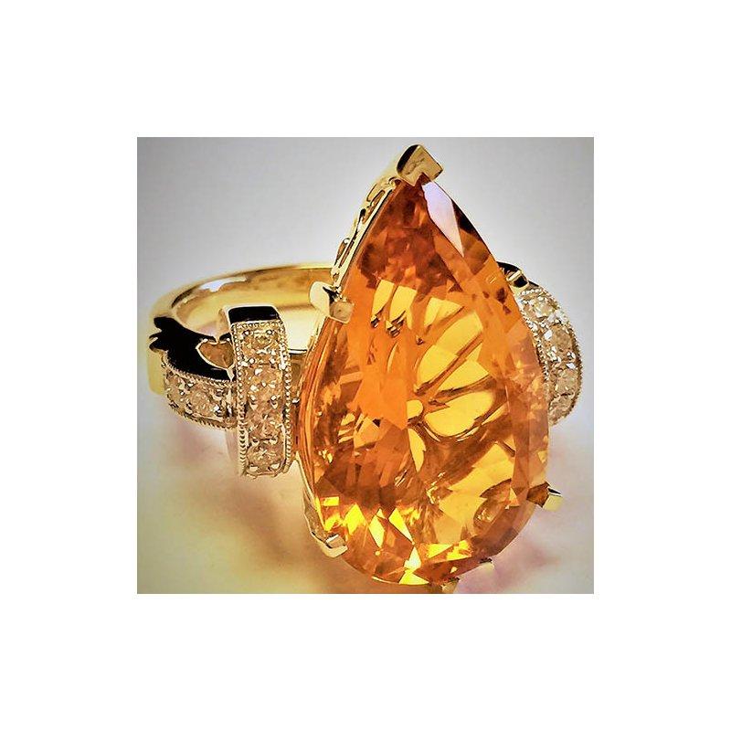 Barany Custom Designs Two Tone 14 Karat Citrine Ring