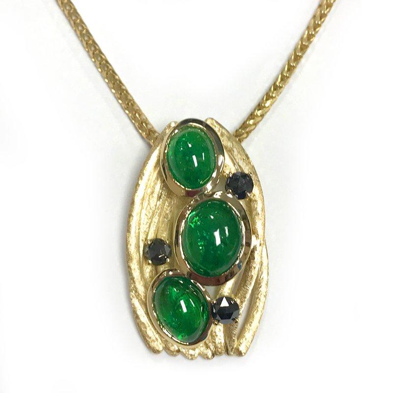 Barany Custom Designs 14 kt gold Cabochon Tsavorite Pendant