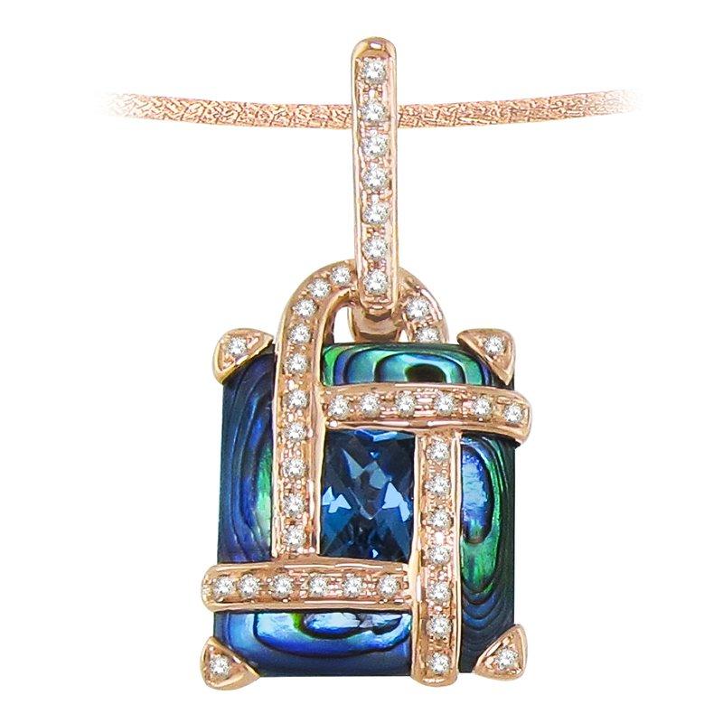 Barany Signature Abalone, London blue topaz and diamonds pendant by Bellarri