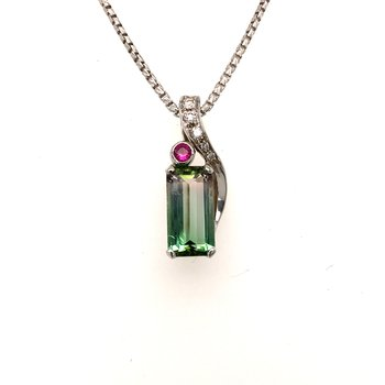 One-of-a-kind custom designed watermelon tourmaline pendant