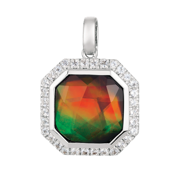 Ammolite and White Topaz Pendant by Korite