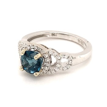 London Blue Topaz and diamonds ring