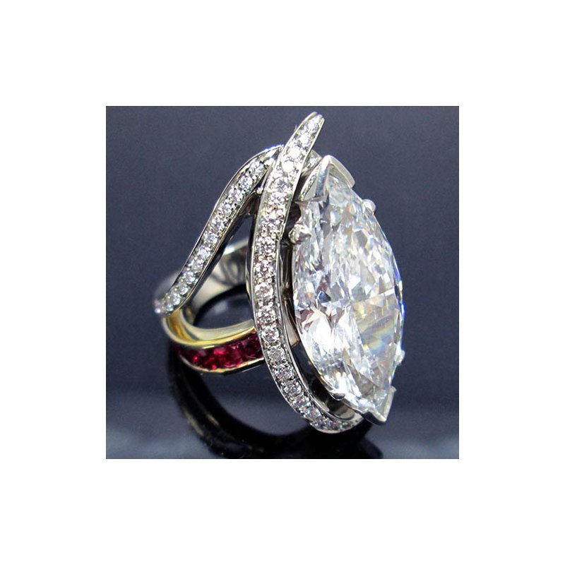 Two Tone 14 Karat One of a Kind Diamond Ring