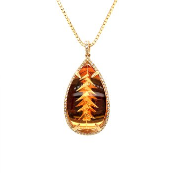 One-of-a-kind custom designed Citrine Pendant