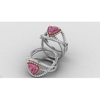 14kt pink tourmaline/ rhodolite garnets and diamonds ring
