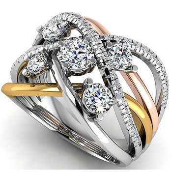 14 Karat Three Tone Diamond Ring