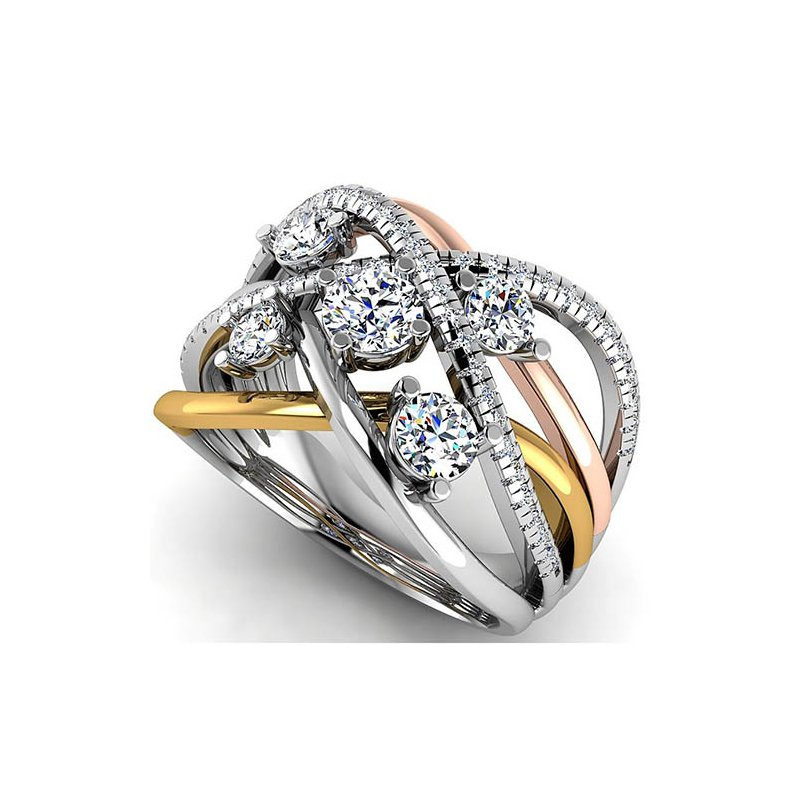 Barany Custom Designs 14 Karat Three Tone Diamond Ring