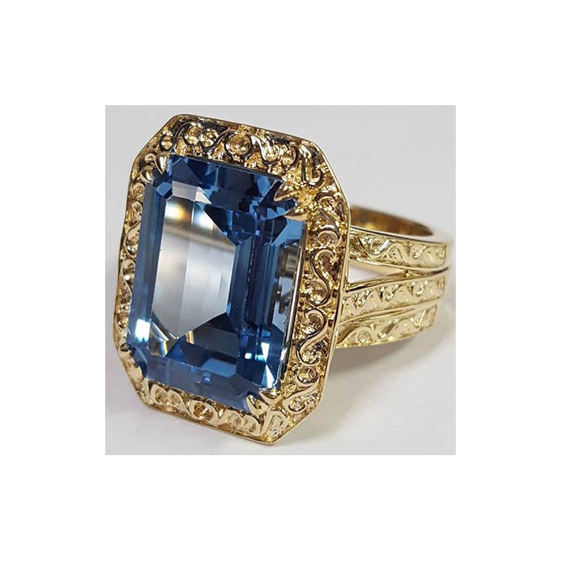 Barany Custom Designs Yellow 14 Karat Blue Topaz Fashion Ring