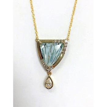 14 kt Aqua trillion pendant with diamond dangle