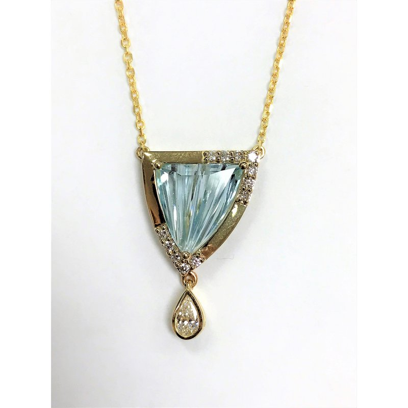 Barany Custom Designs 14 kt Aqua trillion pendant with diamond dangle