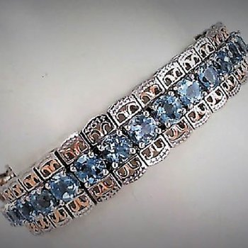 Two Tone 14 Karat Aquamarine Tennis Bracelet
