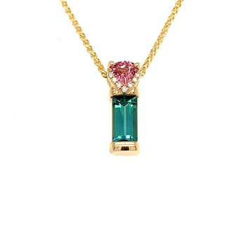 One-of-a-kind custom designed blue/green and pink  tourmaline pendant