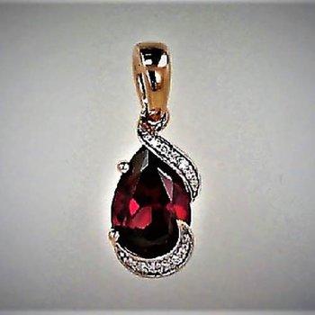 Rose 14 Karat Pear Rhodolite Garnet Pendant