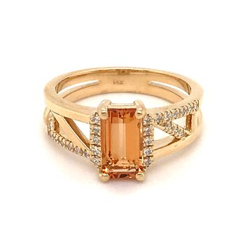 Custom designed imperial topaz and diamonds ring