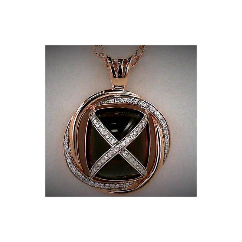 Barany Custom Designs Rose 14 Karat Cabochon Rhodolite Garnet Pendant