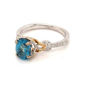London Blue Topaz and diamonds fashion ring