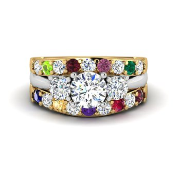 14kt diamond family ring
