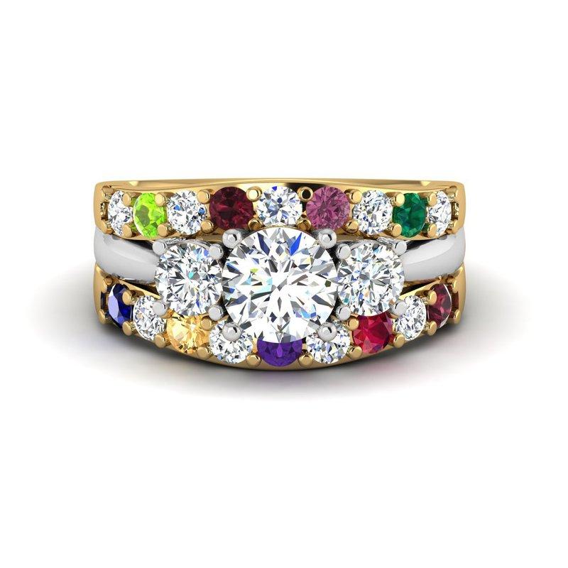 14kt diamond family ring