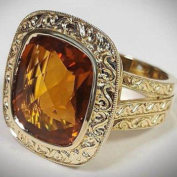 Yellow 14 Karat Citrine Fashion Ring