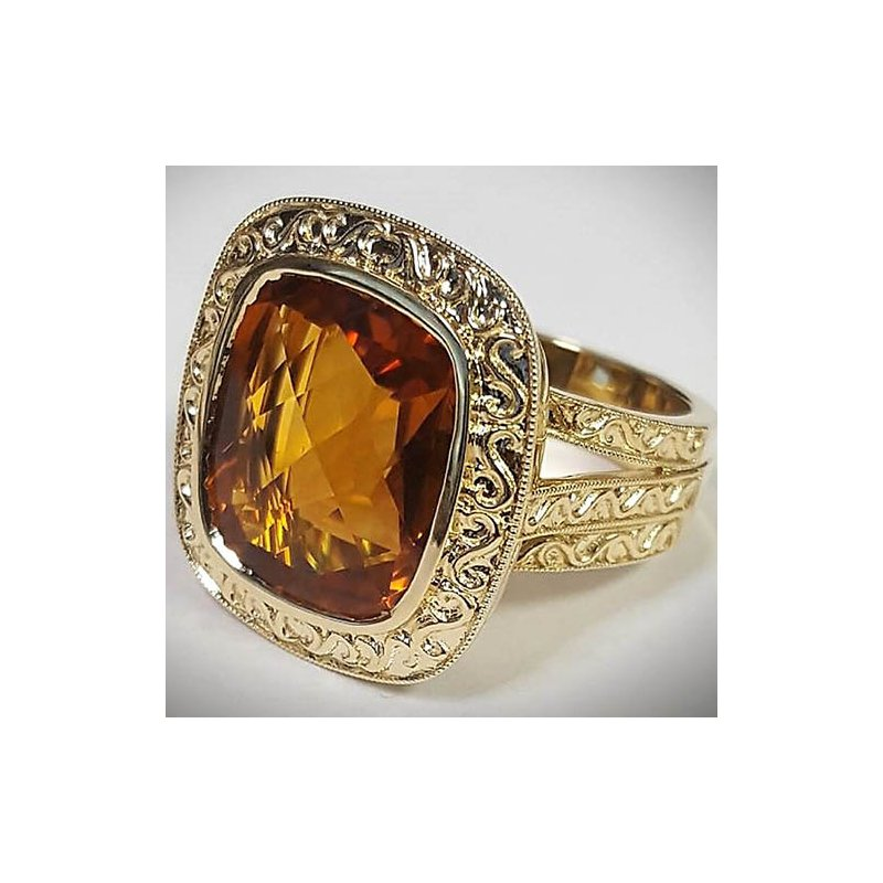 Barany Custom Designs Yellow 14 Karat Citrine Fashion Ring